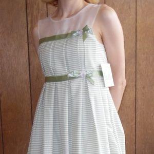 Green Striped Spring Dress